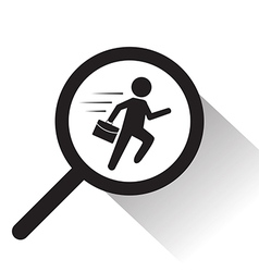 Magnifying glass with running man icon vector