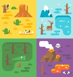 Flat design climate season set vector
