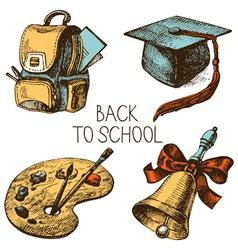 Back to school hand drawn school object set vector