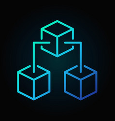 block chain blue concept icon in thin line vector image vector image