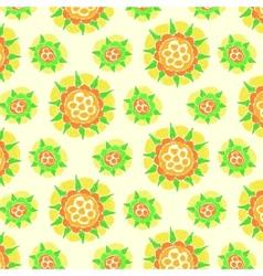 Bright flower pattern on dark green background vector