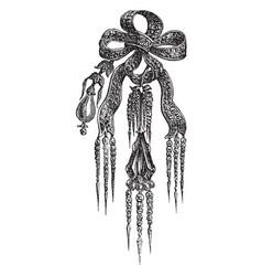 Brooch knot of diamonds vintage engraving vector