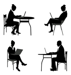 business people laptops vector image vector image