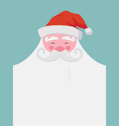 Christmas greeting card happy santa with a beard vector