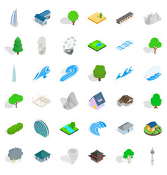 City element icons set isometric style vector