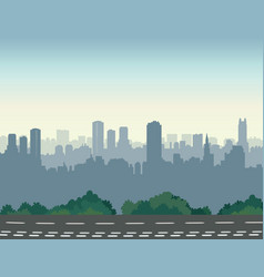 city street skyline urban landscape with road and vector image