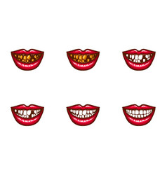 clipart of female mouths with dental problems vector image vector image