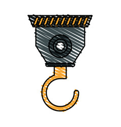 Color crayon stripe cartoon industrial crane hook vector