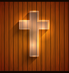 cross on wooden background Eps 10 vector image