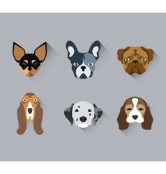 Dog face Portrait flat icon set vector image vector image