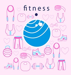 Fitness ball on background vector