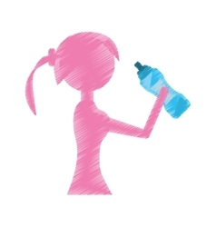 Girl holding bottle water refreshing vector