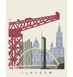 Glasgow skyline poster vector image