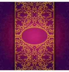 Gold abstract invitation floral violet frame vector