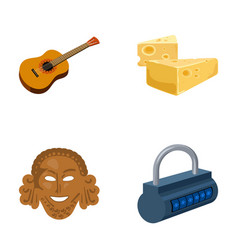 guitar cheese and other web icon in cartoon style vector image vector image