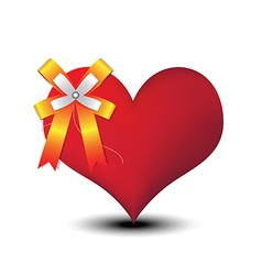 heart and ribbon bow vector image vector image