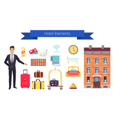 hotel elements icons and title vector image