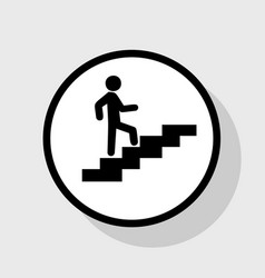 man on stairs going up flat black icon in vector image vector image