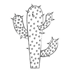 Monochrome blurred silhouette of cactus of three vector