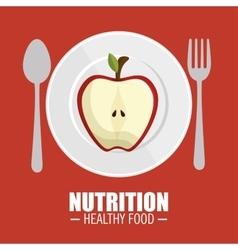 Nutrition healthy food tasty half apple vector