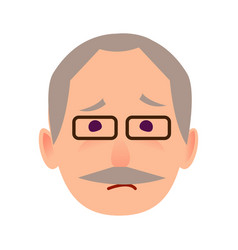 Sad old man in glasses face flat icon vector