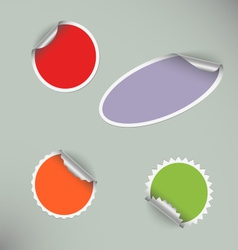 Set of colored blank round stickers vector image vector image