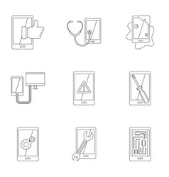 smartphones service icon set outline style vector image vector image