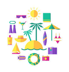 summer holidays travel icons set vector image vector image