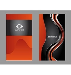 Vertical orange business card vector