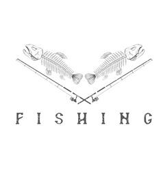 Vintage fishing grunge emblem with skeleton of vector