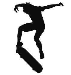Silhouette of a young man skateboarding vector