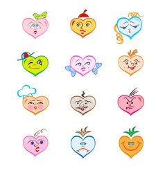 Hearts with various faces vector