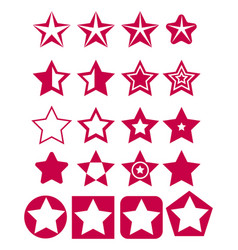 set of red star icons vector image