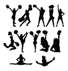 Cheerleader silhouette set vector image