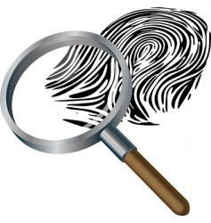 Spyglass and finger print vector