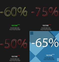 75 50 65 icon set of percent discount on abstract vector