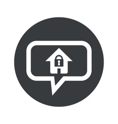 Round locked house dialog icon vector