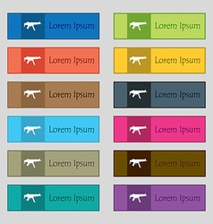 Machine gun icon sign set of twelve rectangular vector