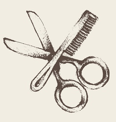 Vintage hairdresser utensils vector