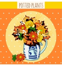 Autumn bouquet in a vase of assorted flowers vector