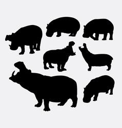 Hippopotamus wild animal silhouette vector
