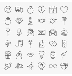 Valentine Day Line Icons Big Set vector image
