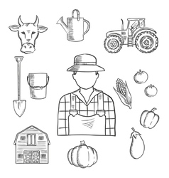 Farmer or farm worker profession sketch vector image