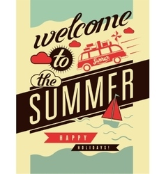 Welcome to the summer typographic retro poster vector