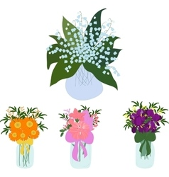 Jars set bouquet of lilies in jar vector