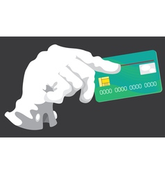 Hand with credit card grey vector