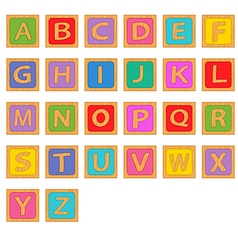 Alphabet wooden english blocks vector