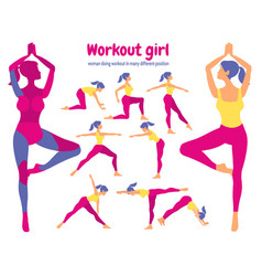 Body workout set pack of body parts woman doing vector