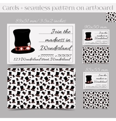 Cards templates - hatter hat from wonderland vector
