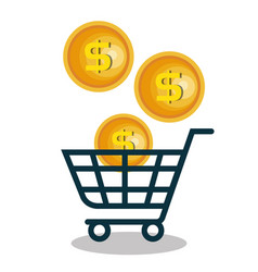 Cart shopping with coins vector